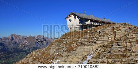 Scene in the Toggenburg valley Switzerland. Summit station on the Chaeserrugg.