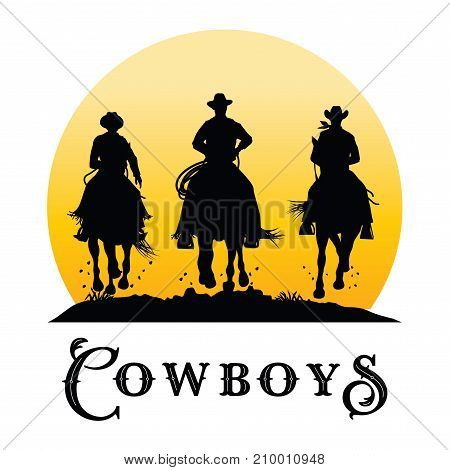 Silhoettue of three cowboys riding horses, Vector