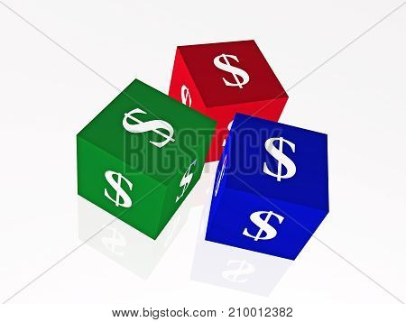 Cubes with dollar signs on the white background 3D illustration.