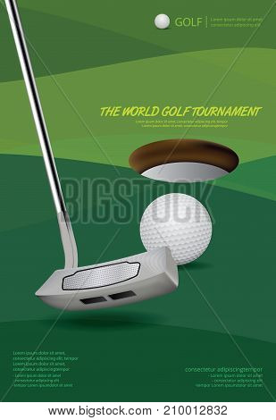 Poster Design Template Golf Tournament Vector Illustration