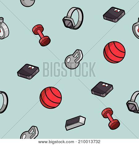 Fitness color outline isometric pattern. Vector illustration, EPS 10