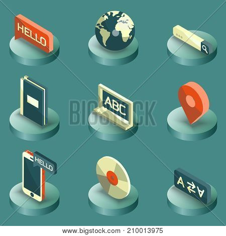 Languages color isometric icons. Set of modern linear icons on the topic of learning a foreign language. Vector logos for schools, colleges and universities.