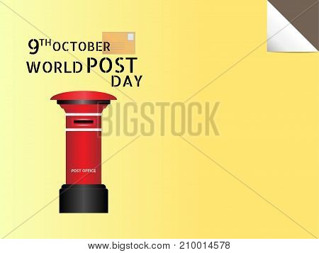 World Post Day, October 9, Vector illustration design. Red post office and text with copy space for decorative on yellow background.