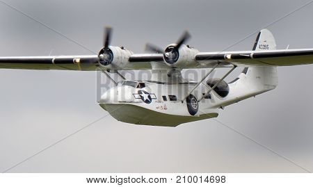 Consolidated Catalina PBY amphibious flying boat and maritime patrol bomber at the inaugural RAF Scampton air show in Lincolnshire, UK, 10 September, 2017.