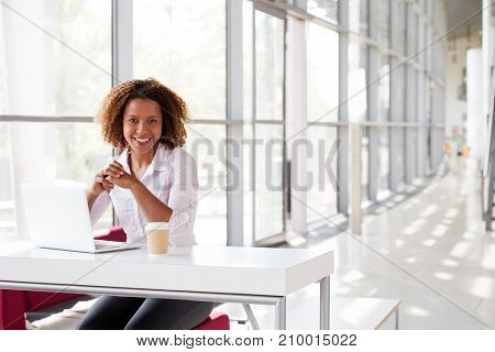 Young businesswoman with laptop at desk looking to camera