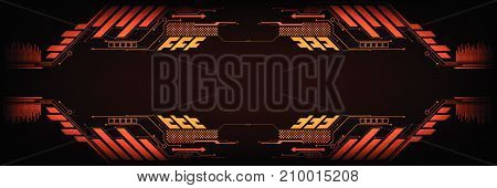 Vector technology in the interface concept on a dark orange background.