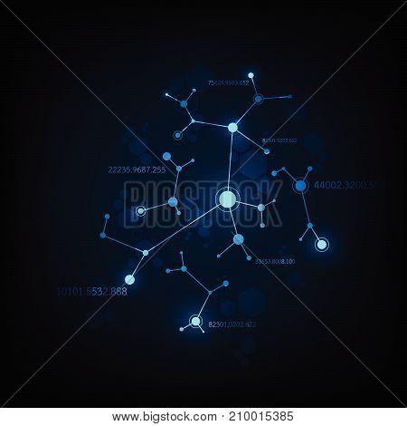 Vector data network design on a dark blue background.