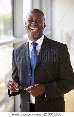 Portrait of a smiling businessman holding glasses