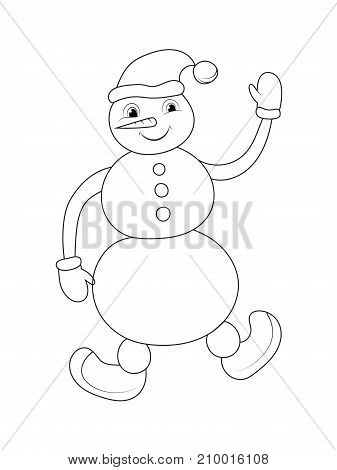 Contour snowman isolated object on white background. Vector illustration