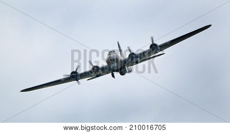 Boeing B17G Flying fortress, Sally B which was the Memphis Belle in the film at the inaugural RAF Scampton air show in Lincolnshire, UK, 10 September, 2017.