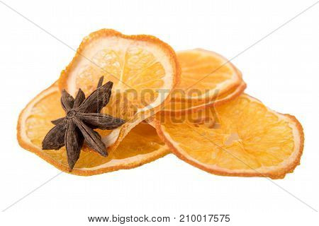 dry orange and Star Anise with copy space, on white background