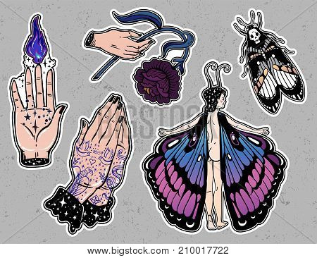 Set of macabre, magic, eerie, sorcery, gothic style classic flash tattoo patches or elements.