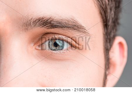 The conceptual image of digital eye or identification of a young man and woman.