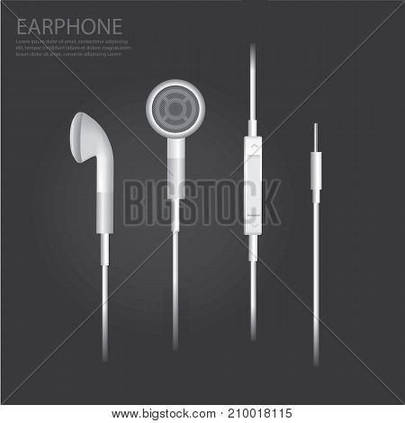 Music Earphone Accessories Realistic isolated Vector Illustration