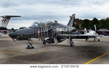 Hawk fast jet light ground attack aircraft at the inaugural RAF Scampton air show in Lincolnshire, UK, 10 September, 2017.