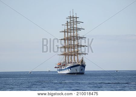 a big sailing boat on the blue ocean