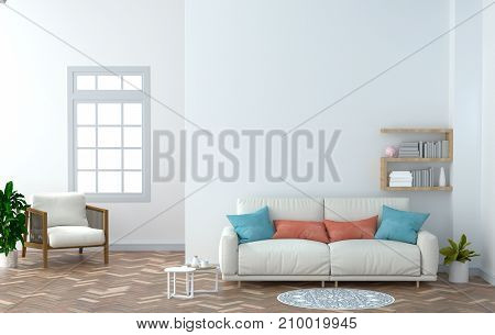 interior design with coffee table and White armchair in the empty room 3D rendering white wall background home.