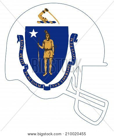 The flag of the USA state of Massachusetts below a football helmet silhouette