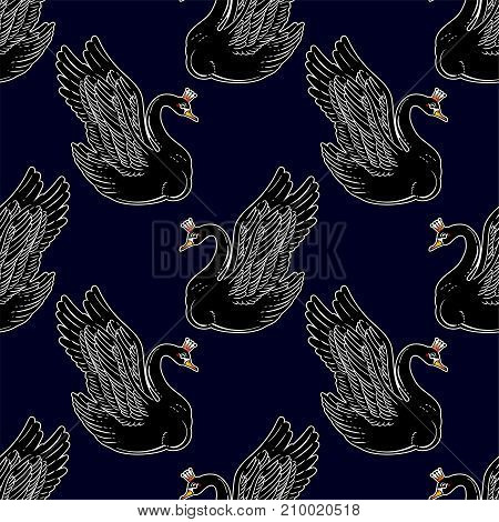 Seamless vintage pin-up pattern with black swan princess. Lovely swans classic flash tattoo style element.
