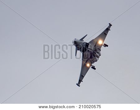 Eurofighter Typhgoon FGR4 fast fight air superiority jet at the inaugural RAF Scampton air show in Lincolnshire, UK, 10 September, 2017.