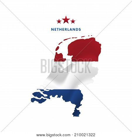Netherlands map with waving flag. Vector illustration.