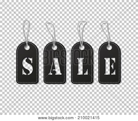 Black tags with Sale word on transparent background. Vector illustration.