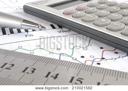 Business background with graph ruler pen and calculator.