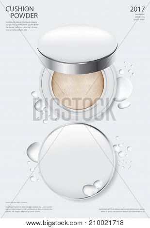 Makeup Powder Cushion Poster Template Vector Illustration