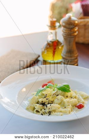 Italian food - rigatoni pasta with basil and black truffle