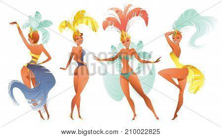 Set of Brazilian samba dancers. Vector carnival in Rio de Janeiro girls wearing a festival costume is dancing.