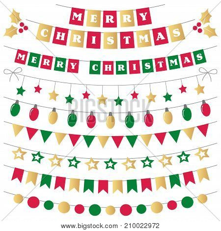 Christmas vector decoration in green, red and gold