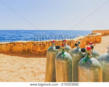 Compressed air tanks prepared for diving trip at