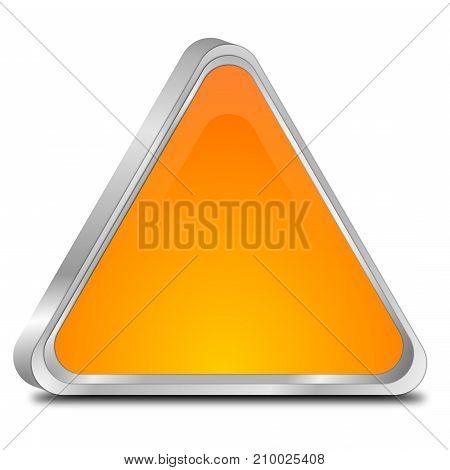 glossy orange blank Button - 3D illustration