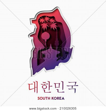 3d abstract paper cut shapes illlustration of South Korea map and famous buildings. Vector travel poster or banner template in carving art style. Eps10.