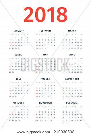 Calendar for 2018 with noted US holidays on white background. Week starts on Sunday. State holidays of the USA are marked. Simple vector template. Stationery design template