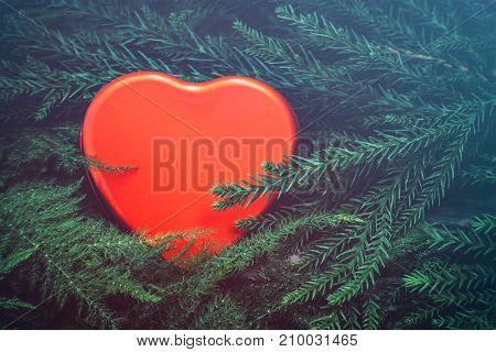 red heart valentine's day love vintage tone