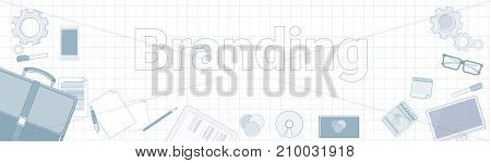 Branding Word With Office Stuff Icons On Squared Background Creation And Products Line Development Concept Vector Illustration