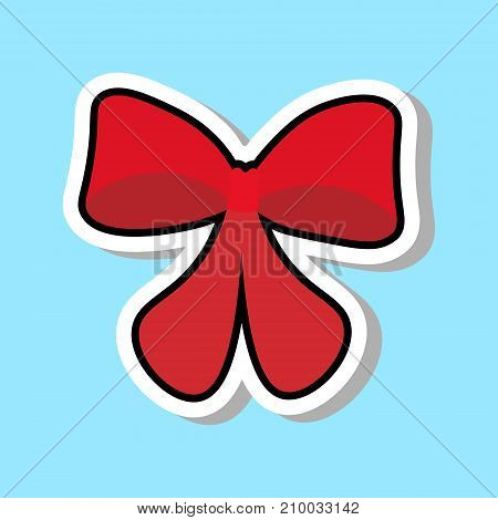 Red Ribbon Bow Icon Isolated Over Blue Background Sticker Holiday Decoration Concept Vector Illustration
