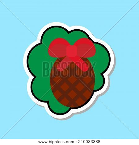 Christmas Tree Cone Icon Isolated Over Blue Background Sticker With Holiday Decoration Concept Vector Illustration