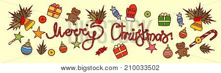 Merry Christmas Text Design On New Year Decorations Background Hand Drawn Style Horizontal Poster Vector Illustration