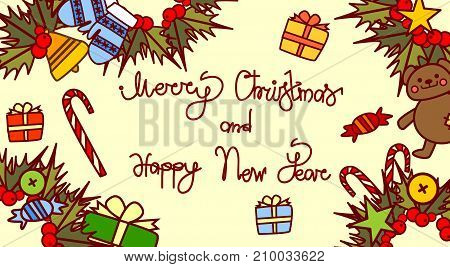 Merry Christmas And Happy New Year Lettering Text Design On Holiday Decorations Background Hand Drawn Style Horizontal Poster Vector Illustration