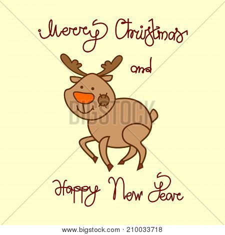 Merry Christmas And Happy New Year Greeting Card With Cute Reindeer Hand Drawn Lettering Background Vector Illustration