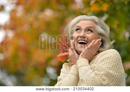 Portrait of a beautiful senior woman outdoors