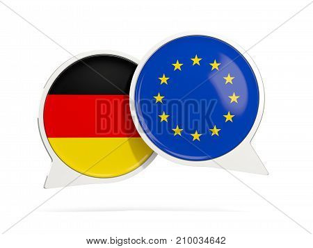 Chat Bubbles Of Germany And Eu Isolated On White