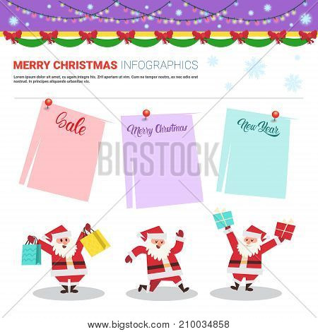 Merry Christmas Infographic Elements With Santa Holding Shopping Bags, Sale Text On Stickers Holiday Shopping Discounts Concept Flat Vector Illustration