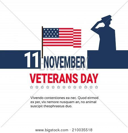 11 November Veteran Day Banner Design On White Background With Us Military Forces Soldier And Copy Space Vector Illustration