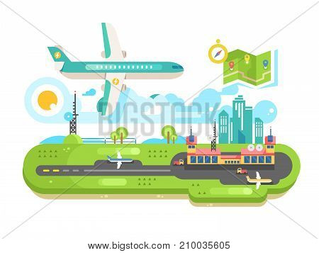 Airport building infrastructure with plane. Travel air transport, terminal passenger and runway strip, vector illustration
