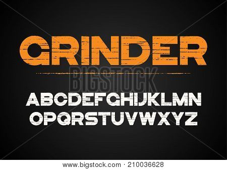 Decorative textured bold font with grunge effect. Vector alphabet letters, typeface.
