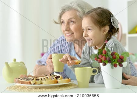 Grandmother and granddaughter drinking tea at kitchen