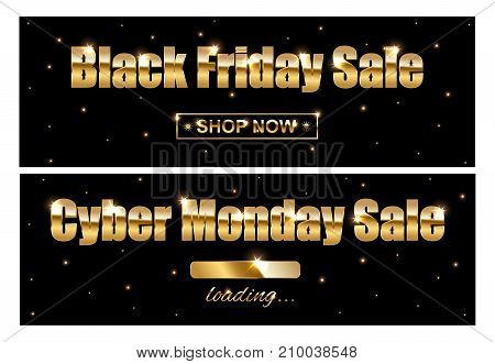 Black Friday Sale and Cyber Monday Sale golden signs on black background. Vector illustration